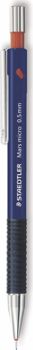 Staedtler Карандаш механический Mars 0,5 мм цвет синий77505Механический карандаш с прорезиненным корпусом для письма. Безопасен для ношения в кармане благодаря убираемому грифелю. Идеален для работы с линейками и трафаретами из-за наличия жесткой цилиндрической муфты грифеля. Амортизируемый грифель для наилучшей защиты от поломки. Ластик не содержит ПВХ и латекс. Легко заправить грифелями.