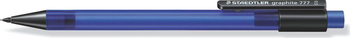 Staedtler Карандаш механический Gr.777 0,5 мм цвет корпуса синий77705-3Механический карандаш graphite 777 для письма. Прорезиненный корпус в матовом прозрачном дизайне синего цвета. Толщина линии - 0,5 мм. Твердость грифеля - B (мягкий). Обеспечен системой подачей грифелей исключающей поломку. Экстра большой ластик из ПВХ без латекса.