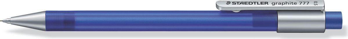 Staedtler Карандаш механический Gr.777 0,5 мм цвет корпуса светло-синий77705-33Механический карандаш graphite 777 для письма. Прорезиненный корпус в матовом прозрачном дизайне светло-синего цвета. Толщина линии - 0,5 мм. Твердость грифеля - B (мягкий). Обеспечен системой подачей грифелей исключающей поломку. Экстра большой ластик из ПВХ без латекса.