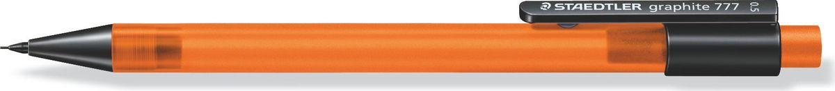 Staedtler Карандаш механический Gr.777 0,5 мм цвет корпуса оранжевый77705-4Механический карандаш graphite 777 для письма. Прорезиненный корпус в матовом прозрачном дизайне оранжевого цвета. Толщина линии - 0,5 мм. Твердость грифеля - B (мягкий). Обеспечен системой подачей грифелей исключающей поломку. Экстра большой ластик из ПВХ без латекса.