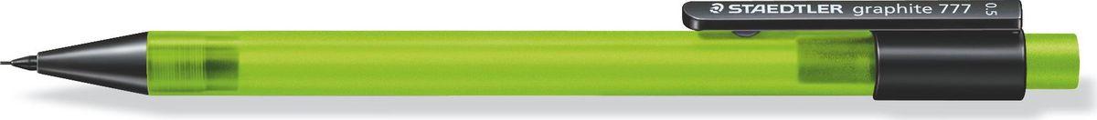 Staedtler Карандаш механический Gr.777 0,5 мм цвет корпуса зеленый77705-5Механический карандаш graphite 777 для письма. Прорезиненный корпус в матовом прозрачном дизайне зеленого цвета. Толщина линии - 0,5 мм. Твердость грифеля - B (мягкий). Обеспечен системой подачей грифелей исключающей поломку. Экстра большой ластик из ПВХ без латекса.
