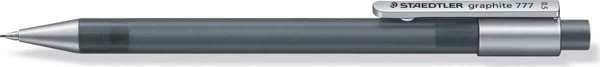 Staedtler Карандаш механический Gr.777 0,5 мм цвет корпуса серый77705-8Механический карандаш graphite 777 для письма. Прорезиненный корпус в матовом прозрачном дизайне серого цвета. Толщина линии - 0,5 мм. Твердость грифеля - B (мягкий). Обеспечен системой подачей грифелей исключающей поломку. Экстра большой ластик из ПВХ без латекса.