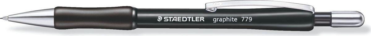 Staedtler Карандаш механический Gr.779 0,5 мм цвет корпуса черный77905-9Механический карандаш graphite 779 для письма. Толщина линии - 0,5 мм. Твердость грифеля - B (мягкий). Нескользящая прорезиненная зона захвата. Металлический клип, нажимная кнопка и наконечник. Безопасно для ношения в кармане благодаря убираемому грифелю. Наличие амортизирующего крепления грифеля является дополнительной защитой от поломки грифеля. Ластик без ПВХ и латекса. Легко заправить грифелями с системой 12-a-go (12 грифелей за раз).