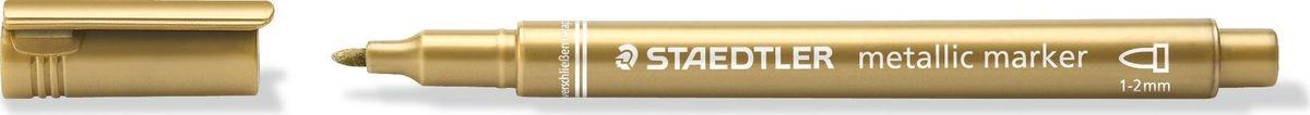 Staedtler Маркер Металлик цвет чернил золотой8323-11Маркер металлик для письма и украшения как на светлой так на темной бумаге и картоне. Цвет чернил - золотой. Идеален для срап-букинга и украшения поздравительных открыток. Легко стирается с гладких поверхностей, таких как стекло и зеркало влажной тряпкой. Ширина линии - 1-2 мм.