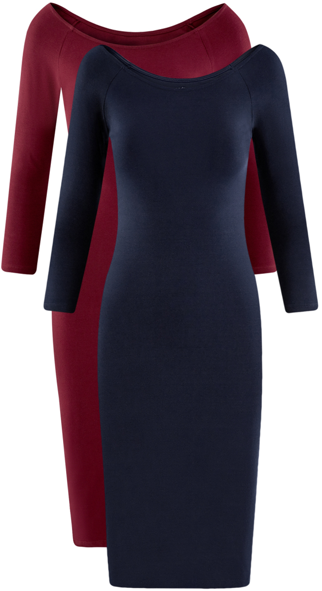 Платье oodji Ultra, цвет: бордовый, темно-синий, 2 шт. 14017001T2/47420/19JHN. Размер XXS (40)14017001T2/47420/19JHNСтильное платье oodji изготовлено из качественного смесового материала. Облегающая модель с горловиной-лодочкой и рукавами 3/4. В наборе 2 платья.