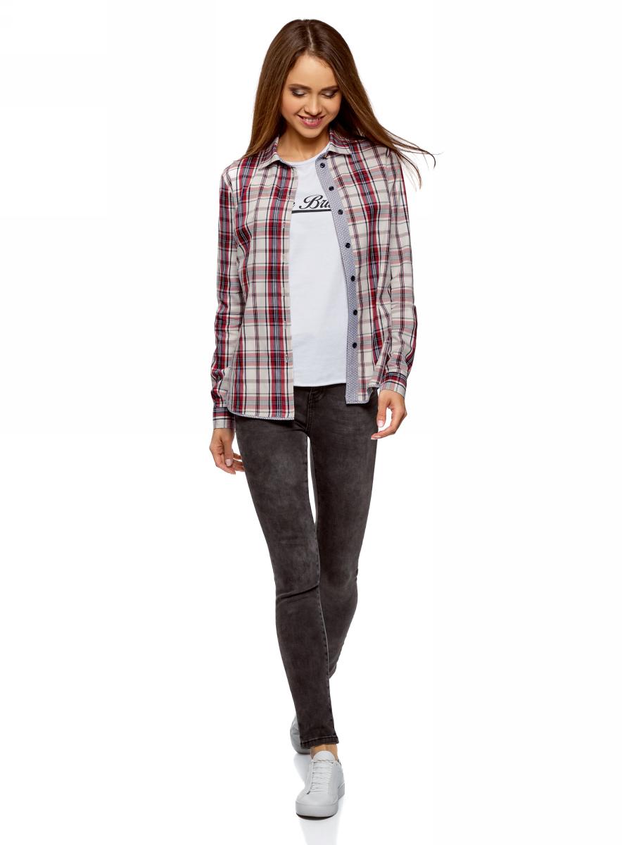Рубашка женская oodji Ultra, цвет: белый, бордовый. 13K01002/47400/1249C. Размер 36-170 (42-170)13K01002/47400/1249C