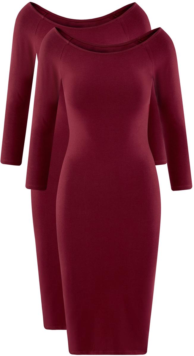 Платье oodji Ultra, цвет: бордовый, 2 шт. 14017001T2/47420/4900N. Размер S (44)14017001T2/47420/4900NСтильное платье oodji изготовлено из качественного смесового материала. Облегающая модель с горловиной-лодочкой и рукавами 3/4. В наборе 2 платья.