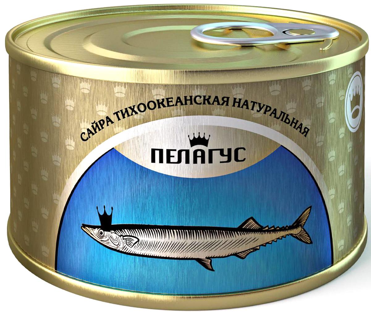Пелагус сайра тихоокеанская натуральная с добавлением масла №5, 230 г4627098460118