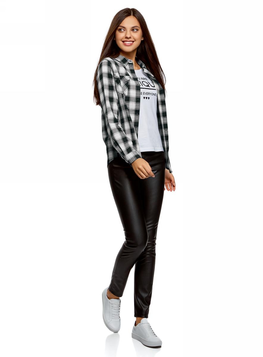 Рубашка женская oodji Ultra, цвет: белый, черный. 13L00001/43223/1229C. Размер 44-170 (50-170)13L00001/43223/1229C