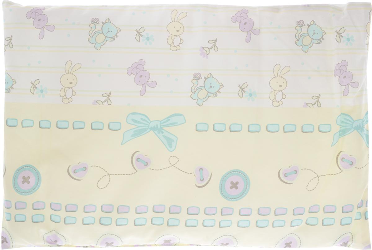 Сонный гномик Подушка детская Заяц и кот цвет желтый мятный 60 х 40 см 555С сонный гномик подушка анатомическая для младенцев лимончик цвет желтый 27 х 27 см
