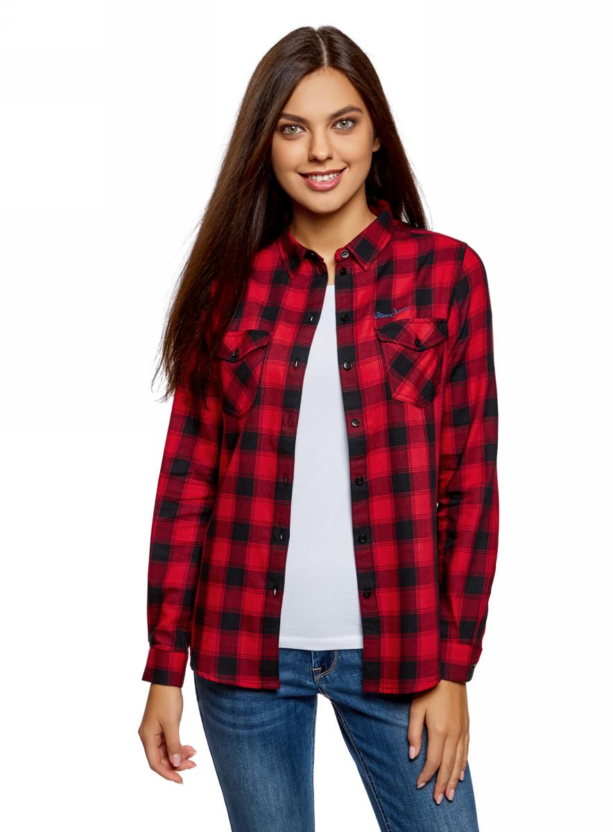 Рубашка женская oodji Ultra, цвет: черный, красный. 13L00001/43223/2945C. Размер 36-170 (42-170)13L00001/43223/2945C