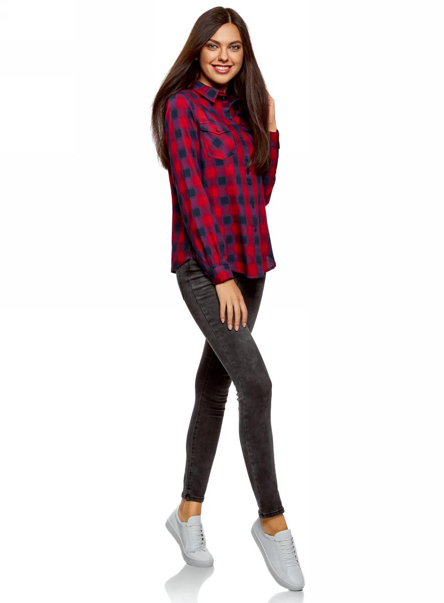 Рубашка женская oodji Ultra, цвет: темно-синий, красный. 13L00001/43223/7945C. Размер 38-170 (44-170)13L00001/43223/7945C