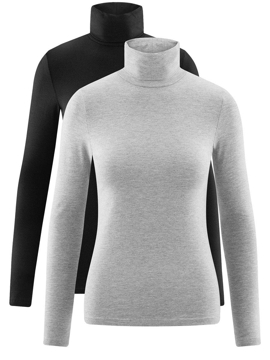 Водолазка женская oodji Ultra, цвет: черный, серый, 2 шт. 15E02001T2/46147/19K3N. Размер S (44)15E02001T2/46147/19K3NБазовая женская водолазка oodji Ultra выполнена из эластичной хлопковой ткани. У модели воротник-гольф и стандартные длинные рукава. В набор входит две водолазки.