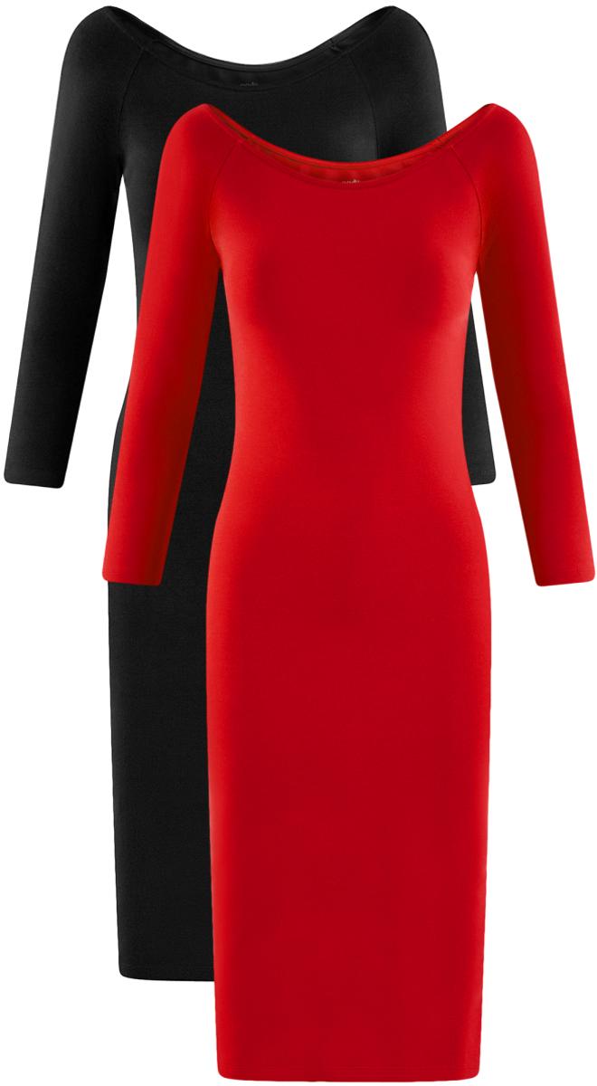 Платье oodji Ultra, цвет: красный, черный, 2 шт. 14017001T2/47420/19JJN. Размер S (44)14017001T2/47420/19JJNСтильное платье oodji изготовлено из качественного смесового материала. Облегающая модель с горловиной-лодочкой и рукавами 3/4. В наборе 2 платья.