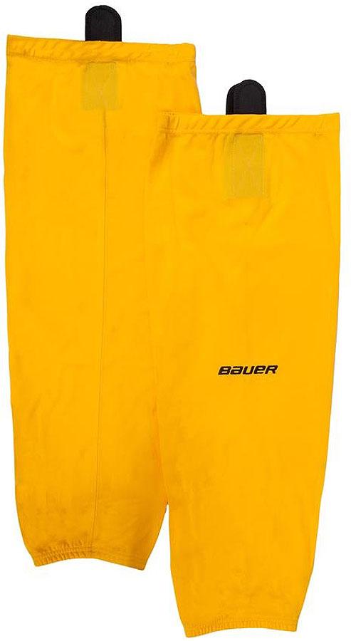 Хоккейные гамаши Bauer 600 Hockey Sock, цвет: золотой. 1047728. Размер S/M1047728Хоккейные гамаши Bauer - отличного стиля и качества, сделаны из полиэстера повышенной прочности. Имеют липучки для крепления и эластичный крой в колене и голеностопе для свободы движения. Превосходно смотрятся с тренировочными майками Bauer.