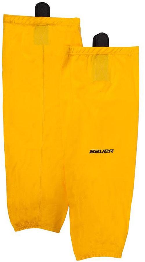Хоккейные гамаши Bauer 600 Hockey Sock, цвет: золотой. 1047742. Размер S/M1047742Хоккейные гамаши Bauer - отличного стиля и качества, сделаны из полиэстера повышенной прочности. Имеют липучки для крепления и эластичный крой в колене и голеностопе для свободы движения. Превосходно смотрятся с тренировочными майками Bauer.