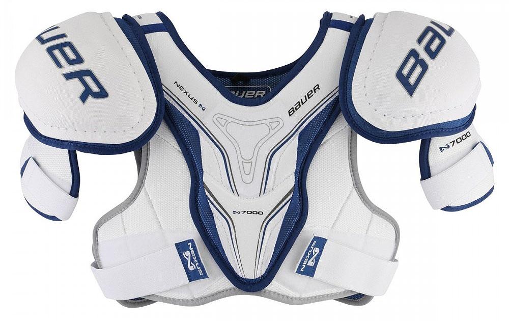 Наплечники Bauer Nexus N7000, цвет: белый, синий. 1048038. Размер L1048038Больше движения и контроля с сегментированными частями нагрудника. Интегрированная чашка со вставкой средней плотности на плечах защищает от сильных ударов. Та же пена средней плотности обеспечивает превосходную защиту спины, груди, позвоночника и почек.