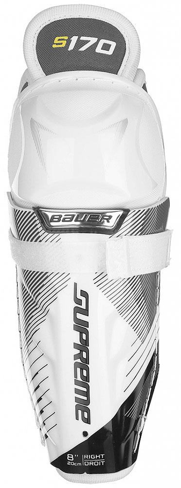 Щитки хоккейные Bauer Supreme, цвет: белый. 1050833. Размер 101050833Катитесь по льду уверенно. Катитесь с чувством защищенности. Эти щитки из пены средней плотности обладают анатомической формой; они надежно крепятся на ноге и помогают вам играть с максимальной отдачей всегда.