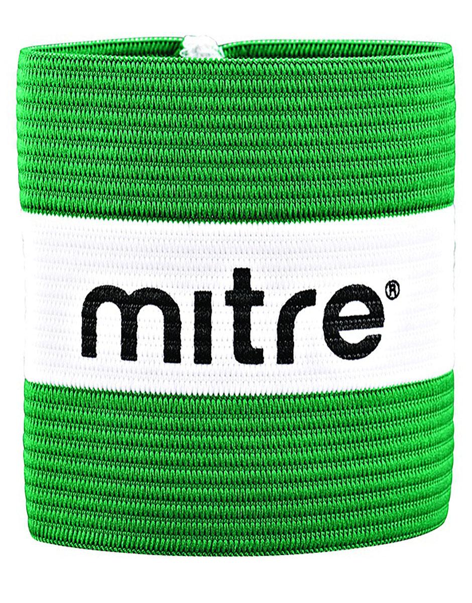 Капитанская повязка Mitre, цвет: зеленый, белый, 10 x 7 см капитанская повязка mitre a4029arf8