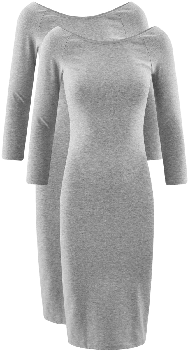 Платье oodji Ultra, цвет: светло-серый меланж, 2 шт. 14017001T2/47420/2000M. Размер XL (50)14017001T2/47420/2000MСтильное платье oodji изготовлено из качественного смесового материала. Облегающая модель с горловиной-лодочкой и рукавами 3/4. В наборе 2 платья.