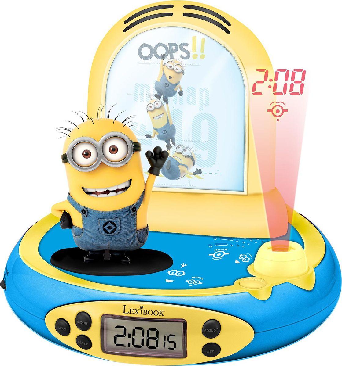 Lexibook Часы-будильник-проектор Миньоны267368Ваши любимые герои теперь будут еще ближе! Удобные радио-часы с ЖК экраном, сделанные в дизайне Миньонов, героев любимых мультфильмов компании Иллюминейшн - Гадкий Я, с функцией будильника, ночника и проектора, который проецирует время на потолок. Продукт произведен по официальной лицензии, прекрасный подарок детям и их родителям !