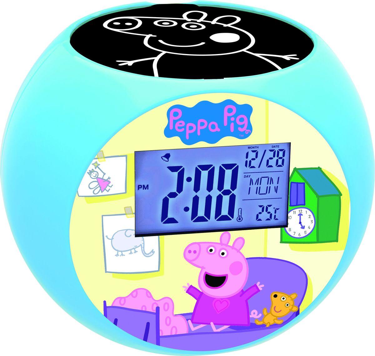 Lexibook Часы-прожектор Свинка Пеппа267388Ваши любимые герои теперь будут еще ближе! Стильные и удобные радио-часы с ЖК экраном, сделанные в дизайне героев мультфильма с функциями будильника, ночника и проектора, который проецирует время и картинки на потолок. Благодаря 10-ти встроенным в радио-часы звукам природы вы можете расслабиться в любое время!Продукт произведен по официальной лицензии, прекрасный подарок детям и их родителям!