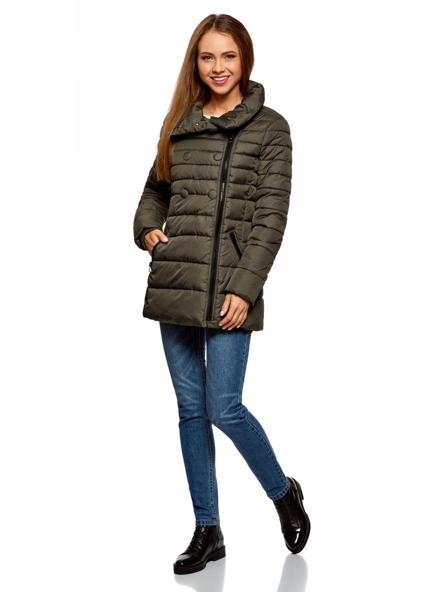 Куртка женская oodji Ultra, цвет: темный хаки. 10201032-2B/32754/6800N. Размер 40-170 (46-170)10201032-2B/32754/6800N