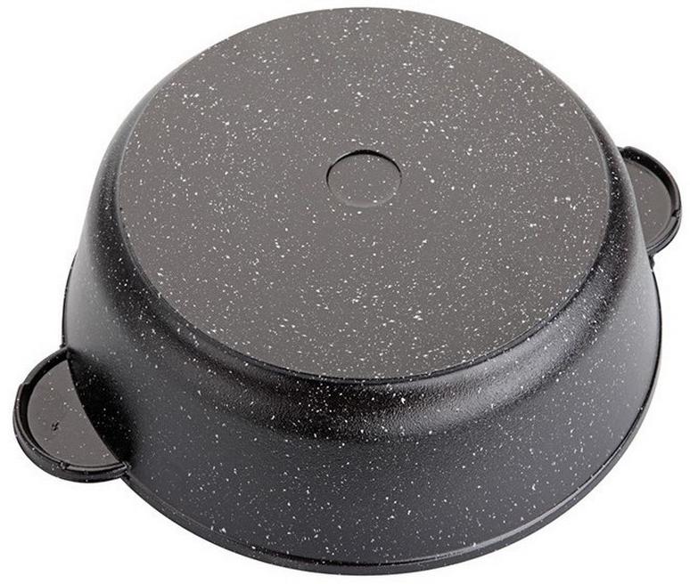 """Сковорода """"Маруся"""" выполнена из алюминия. Толщина дна и высота бортов  сковороды оптимальны для различных способов приготовления. Крышка из  жаропрочного стекла. Специальное отверстие для выхода пара позволяет  готовить с закрытой крышкой, предотвращая выкипание. Внутреннее и внешнее  упрочненное трехслойное антипригарное покрытие с минеральными частицами  мрамора и гранита. Диаметр сковороды: 28 см."""