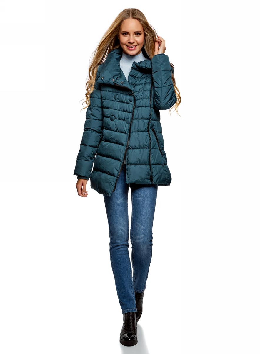 Куртка женская oodji Ultra, цвет: серо-синий. 10201032-2B/32754/7402N. Размер 36-170 (42-170)10201032-2B/32754/7402N