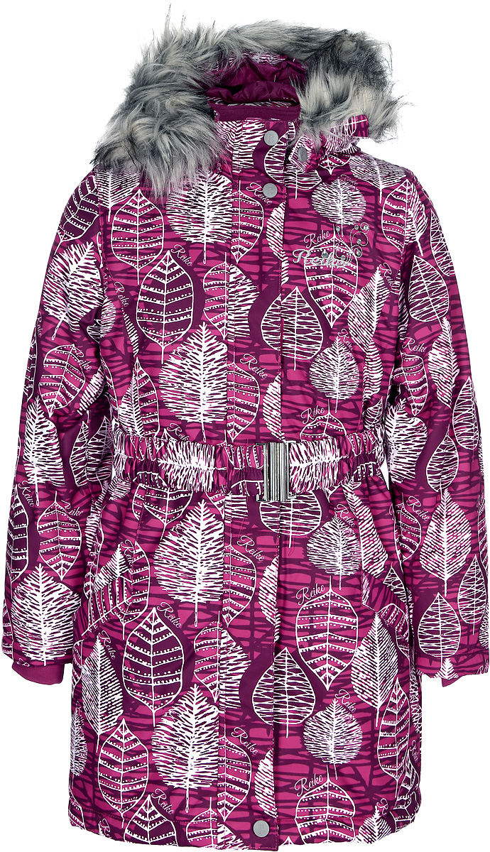 Куртка для девочки Reike, цвет: красный. 396605_FLV berry. Размер 158396605_FLV berryКуртка для девочки Reike выполнена из ветрозащитной, водонепроницаемой, дышащей мембранной ткани. Подкладка выполнена из принтованного полиэстера с флисовой спинкой и воротником. Куртка дополнена съемным регулирующимся капюшоном с отстегивающейся меховой опушкой, светоотражающими лентами и элементом на спине в форме цветка, повторяющим узор принта, поясом-резинкой с пряжкой, а также двумя карманами на молниях. На груди серебристая вышивка логотипа Reike со стразами. Рукава оформлены эластичными трикотажными манжетами. Ветрозащитная планка на кнопках и липучках по всей длине молнии не допускает проникновения холодного воздуха.