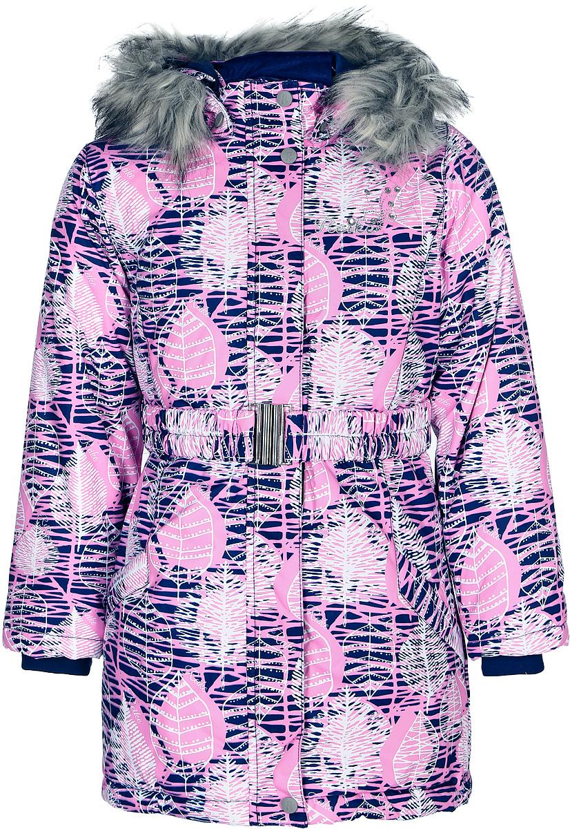 Куртка для девочки Reike, цвет: темно-синий. 3966010_FLV navy. Размер 1523966010_FLV navyКуртка для девочки Reike выполнена из ветрозащитной, водонепроницаемой, дышащей мембранной ткани. Подкладка выполнена из принтованного полиэстера с флисовой спинкой и воротником. Куртка дополнена съемным регулирующимся капюшоном с отстегивающейся меховой опушкой, светоотражающими лентами и элементом на спине в форме цветка, повторяющим узор принта, поясом-резинкой с пряжкой, а также двумя карманами на молниях. На груди серебристая вышивка логотипа Reike со стразами. Рукава оформлены эластичными трикотажными манжетами. Ветрозащитная планка на кнопках и липучках по всей длине молнии не допускает проникновения холодного воздуха.