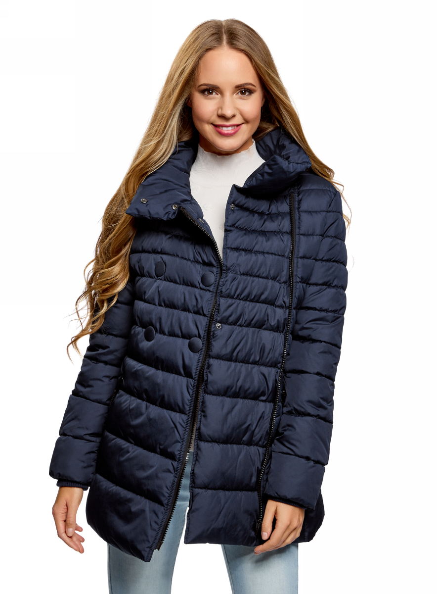 Куртка женская oodji Ultra, цвет: темно-синий. 10201032-2B/32754/7900N. Размер 38-170 (44-170) женская утепленная куртка playboy 11237031