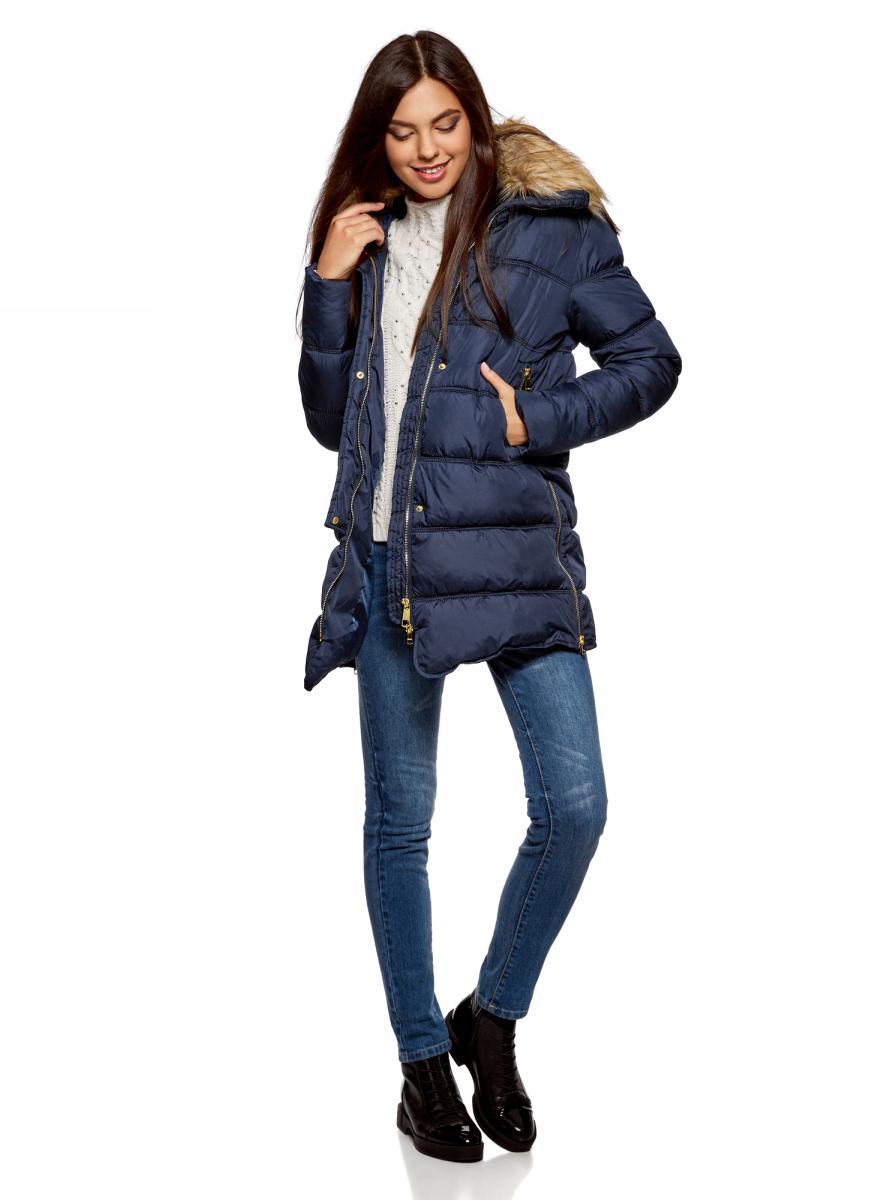 Куртка женская oodji Ultra, цвет: темно-синий. 10203059-1/32754/7900N. Размер 44-170 (50-170) женская утепленная куртка playboy 11237031