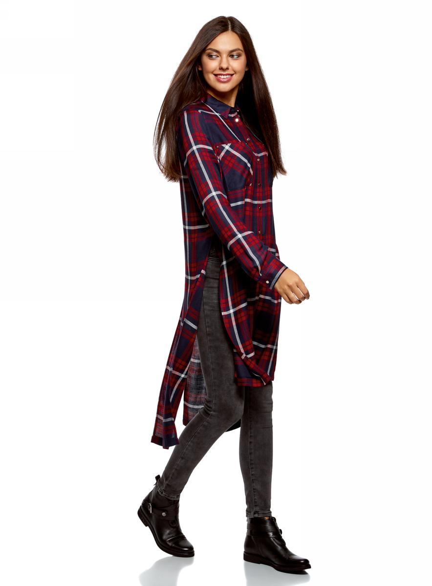Рубашка женская oodji Ultra, цвет: красный, темно-синий. 11411180/47401/4579C. Размер 40-170 (46-170)11411180/47401/4579C