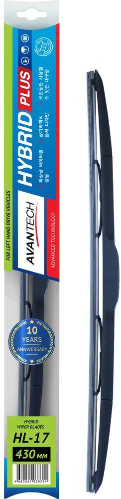 Щетка стеклоочистителя Avantech Hybrid, гибридная, под крючок, 17 (430 мм)HL-17Щетки Avantech Hybrid характеризуются высоким качеством очистки лобового стекла и пониженным шумом работы, в том числе на высоких скоростях и при неблагоприятных погодных условиях. В данной серии удачно сочетаются все достоинства каркасных щеток и их бескаркасных аналогов. Такая совокупность предполагает ощутимые преимущества: Возможность всесезонного использования, без ущерба качеству очистки, как зимой, так и летом.Надежная аэродинамическая конструкция, плотно прижимающая щетку к стеклу.Модный современный дизайн, позволяющий не только гармонично дополнять внешний облик автомобиля, но и выгодно подчеркивает его солидность.Бесперебойность и длительность эксплуатации. Резиновая лента изготавливается по специальной технологии, что гарантирует устойчивость к возможным неблагоприятным воздействиям окружающей среды. Непосредственно лезвие ленты обработано покрытием (графитовая основа), обеспечивающим первоначальные свойства на протяжении всего срока службы. Щётка оснащена универсальным креплением крючок. Щетки Avantech Hybrid предстают образцом вдумчивого, размеренного инженерного и дизайнерского подхода, а также тщательной проработки каждой мелочи, что положительно влияет на их функциональные и эксплуатационные свойства.