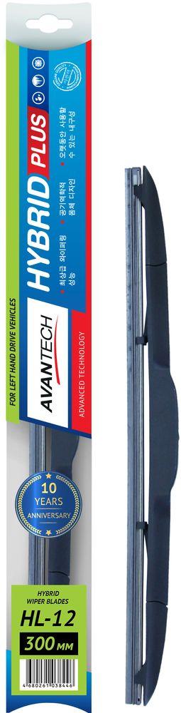 Щетка стеклоочистителя Avantech Hybrid, гибридная, под крючок, 12 (300 мм)HL-12
