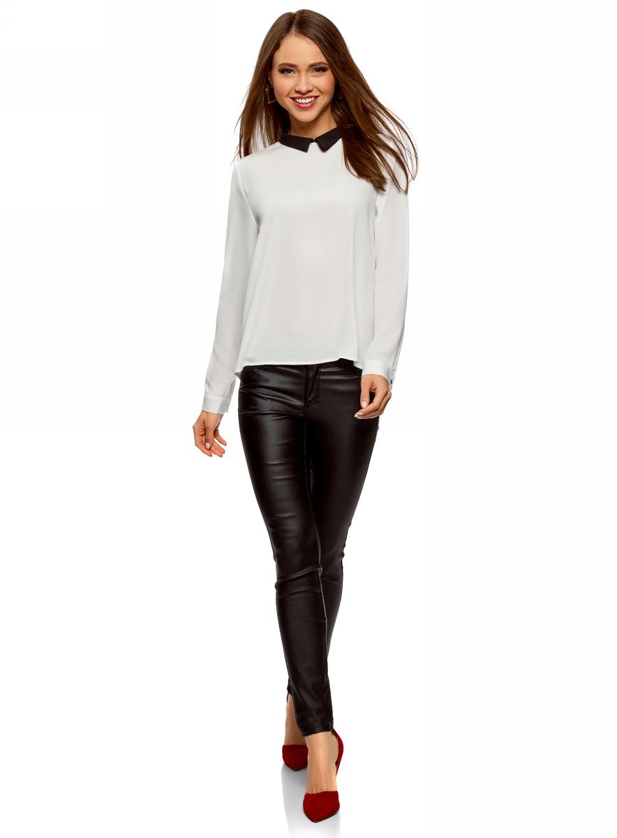 Блузка женская oodji Ultra, цвет: белый, черный. 11411181/43414/1229B. Размер 34-170 (40-170)11411181/43414/1229B