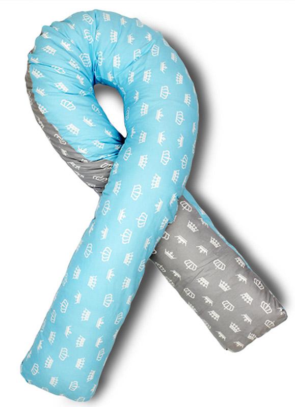 Body Pillow Подушка для беременных U-образная с наполнителем пенополистирол двухстороняя с белыми коронами на сером и голубом фоне - Подушки для беременных и кормящих