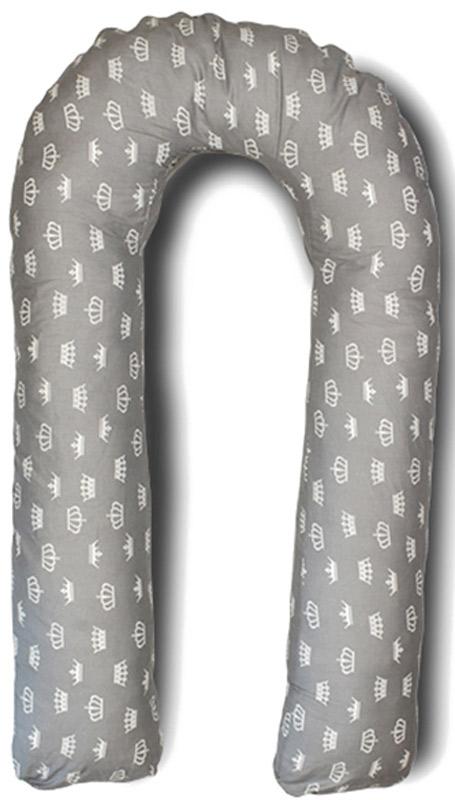 Body Pillow Подушка для беременных U-образная с наполнителем пенополистирол цвет серый с белыми коронами -  Детский текстиль