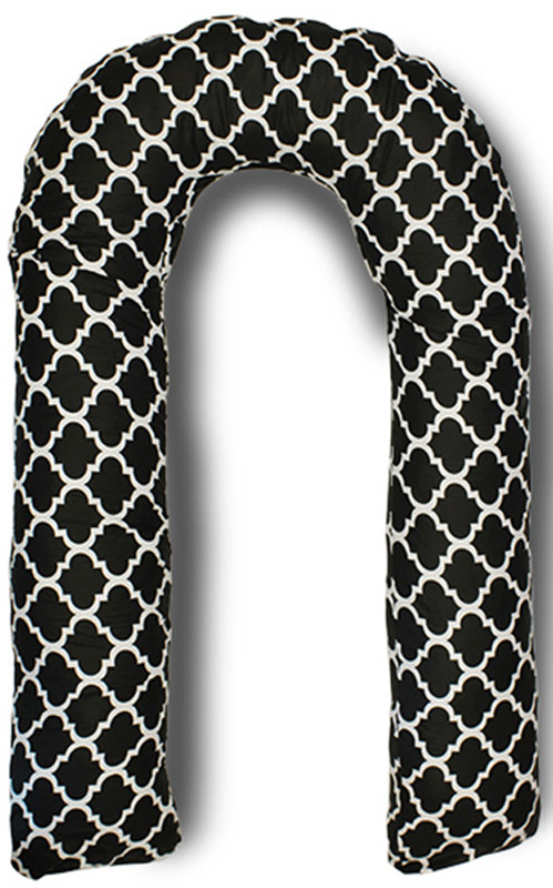 Body Pillow Подушка для беременных U-образная с наполнителем пенополистирол цвет черный с белым рисунком -  Детский текстиль