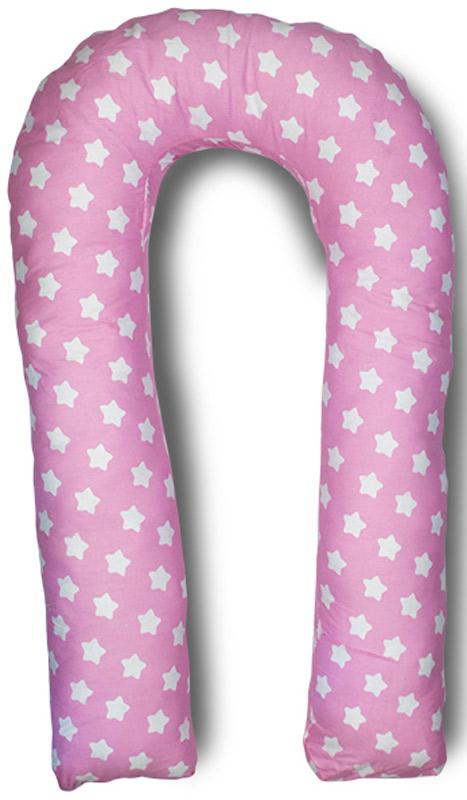 Body Pillow Подушка для беременных U-образная с наполнителем пенополистирол цвет розовый с белыми фигурками пряников -  Детский текстиль