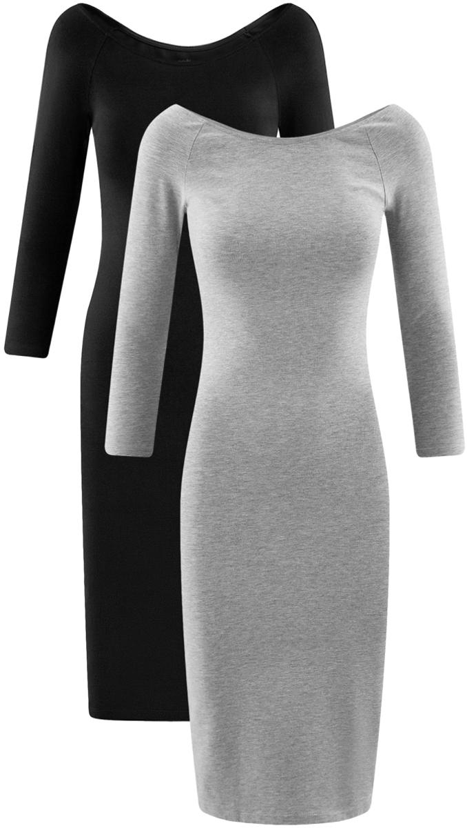 Платье oodji Ultra, цвет: черный, серый, 2 шт. 14017001T2/47420/19K3N. Размер S (44)14017001T2/47420/19K3NСтильное платье oodji изготовлено из качественного смесового материала. Облегающая модель с горловиной-лодочкой и рукавами 3/4. В наборе 2 платья.