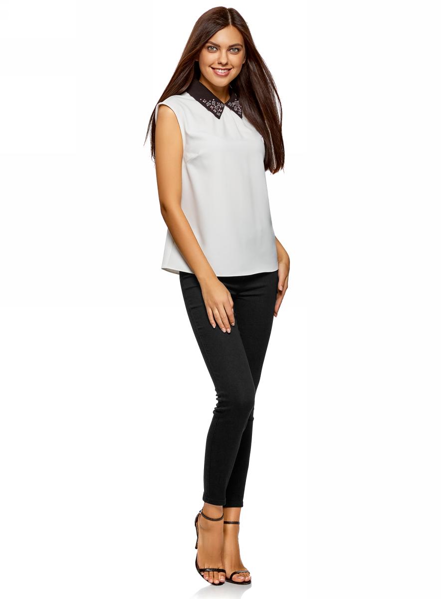 Джинсы женские oodji Ultra, цвет: черный джинс. 12104073-1/47015/2900W. Размер 29-32 (48-32) джинсы женские oodji ultra цвет темно синий джинс 12104043 6b 46260 7900w размер 27 32 44 32