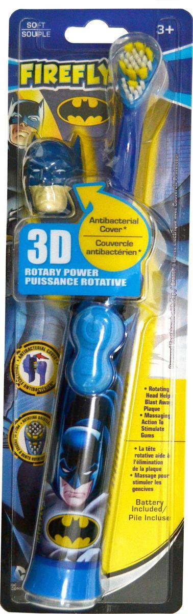 Batman Электрическая детская зубная щетка Ротари с батарейкой и 3D колпачкомBM-21Batman Электрическая детская зубная щетка с батарейкой и 3D колпачком. Мягкая щетина. Детям с 3-х лет.