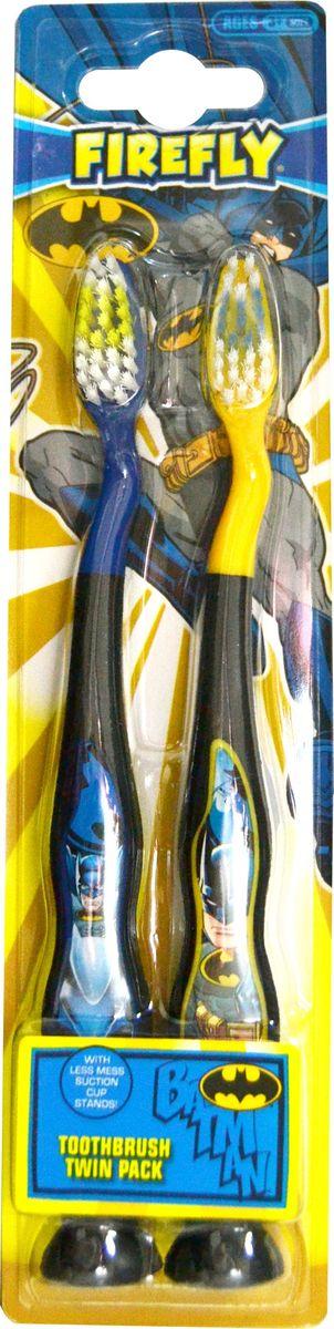 Batman Детская зубная щетка с мягкой щетиной на подставке-присоске 2 шт