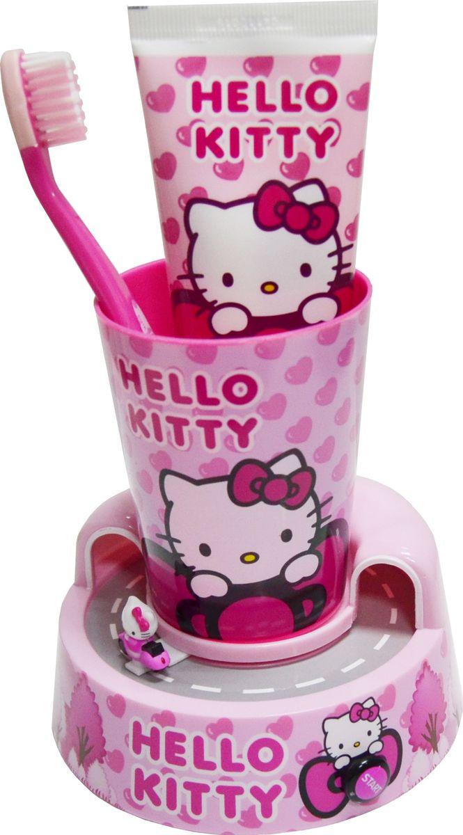 Hello Kitty Набор детский: подставка-таймер с игрушкой + стакан + зубная щетка + зубная паста 75 мл - Товары для гигиены