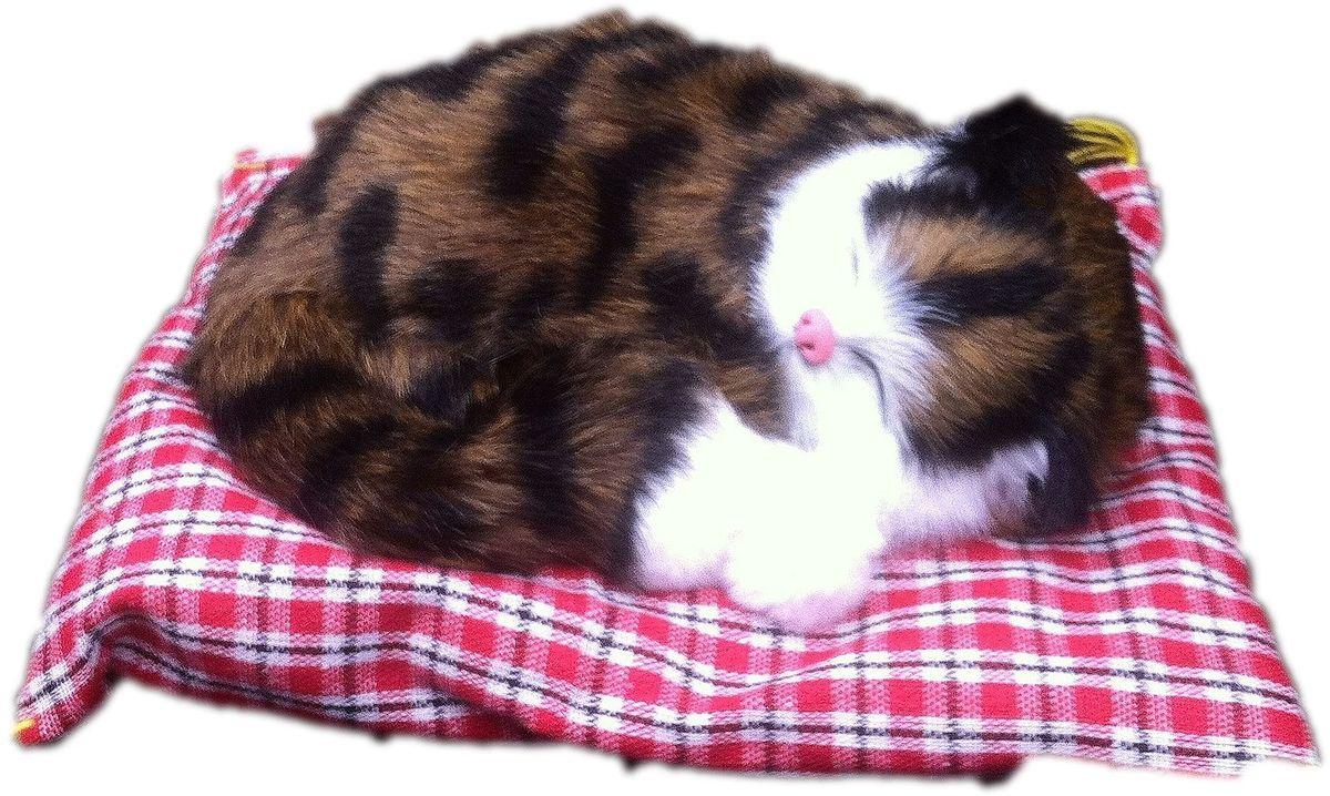 Vebtoy Фигурка Спящий котенок на коврике со звуком Мяу цвет коричневый
