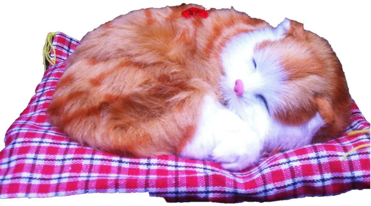 Vebtoy Фигурка Спящий котенок на коврике со звуком Мяу цвет рыжий CM371