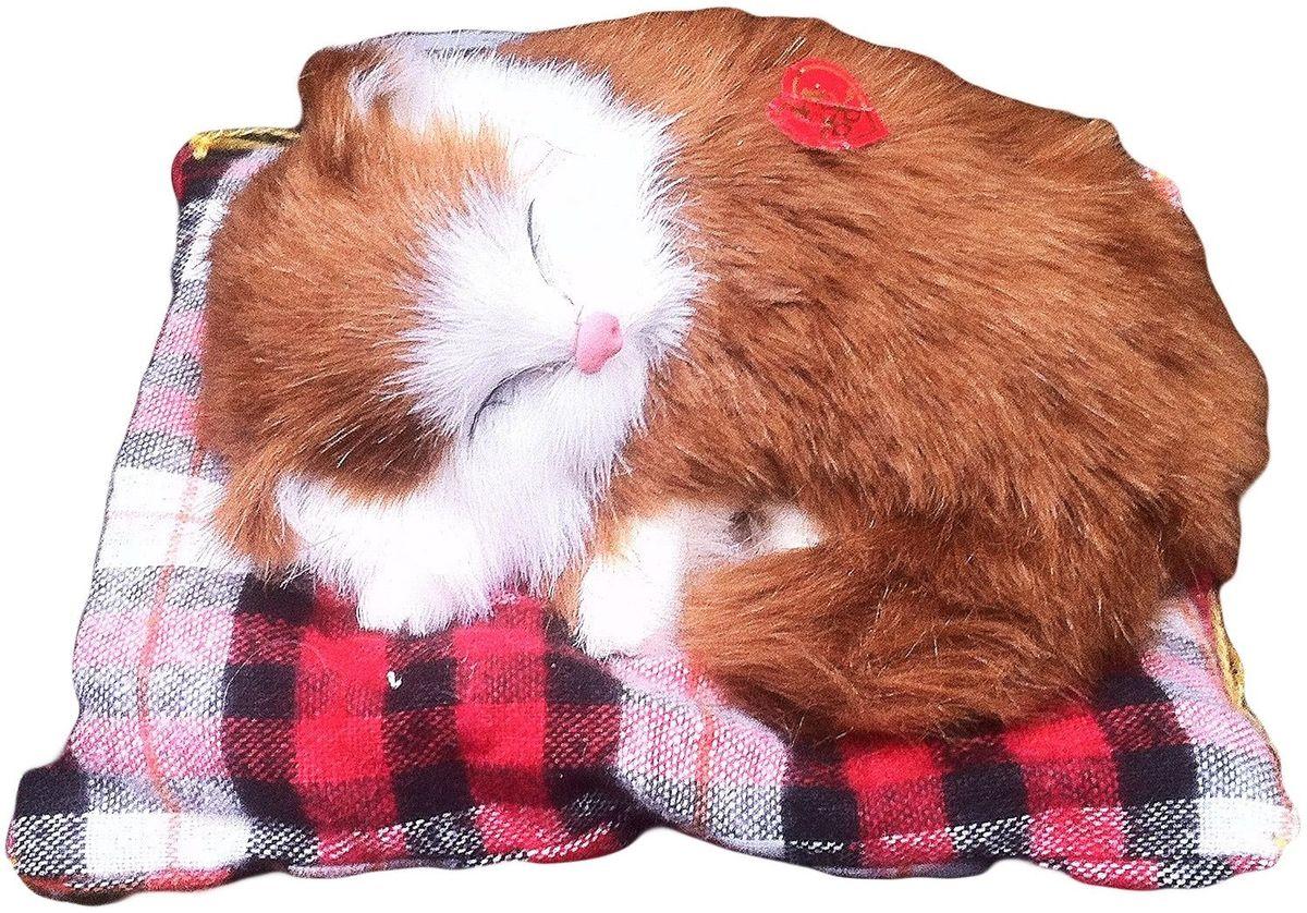 Vebtoy Фигурка Спящий котенок на коврике со звуком Мяу цвет рыжий