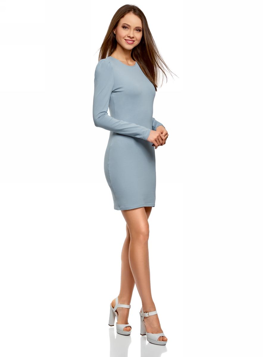 Платье oodji Ultra, цвет: серо-синий. 14000171B/46148/7401N. Размер L (48)14000171B/46148/7401N